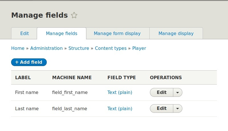Fields on player content type
